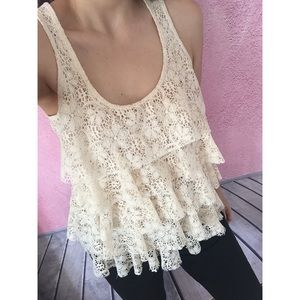 Layered Lace Beige Tank Top